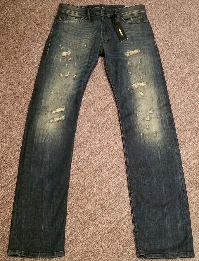 Brand New DIESEL SAFADO Slim Straight bluee Distressed Mens Jeans - R08C6 - 27x32