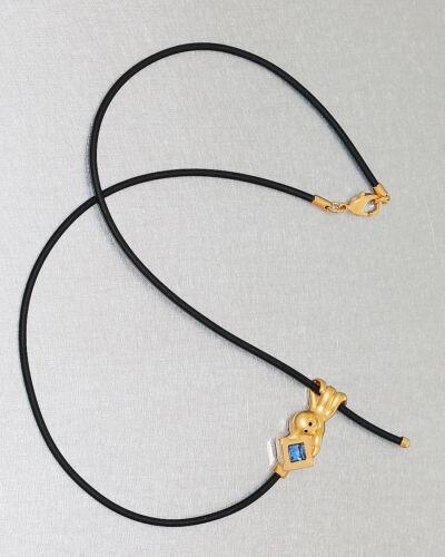 Kautschukkette mit goldenem Octopus und Schmuckstein Goldanhänger pl an Kette