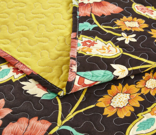 DaDa Bedding Bohemian Floral Honey Yellow Brown Quilt Bedspread Set King Size