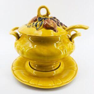 Vintage N.S. Gustin 1961 Pottery 4 Piece Soup Tureen Server Yellow Harvest 3 Qt