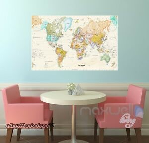 Large business world map vinyl wall decals removable stickers home image is loading large business world map vinyl wall decals removable publicscrutiny Gallery