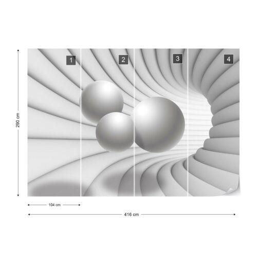 3D Moderne Tunnel View Gris et Blanc PHOTO PAPIER PEINT polaire facile installer papier