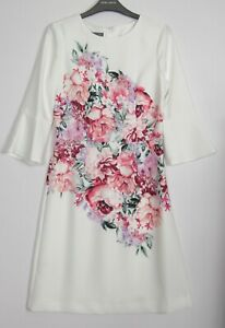 Laura-Ashley-Blanc-Ivoire-Imprime-Floral-Tunique-Shift-Occasion-Robe-Taille-8-18