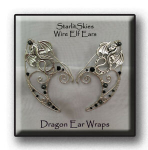Dragon Wire Elf Ears With Hematite In Sterling Silver Filled Ear
