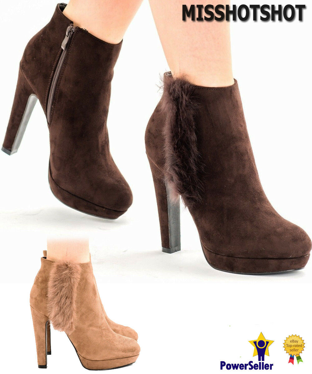 New Women's Girls Ankle Boots High Block Heels Faux Fur Pom Poms Booties Shoes