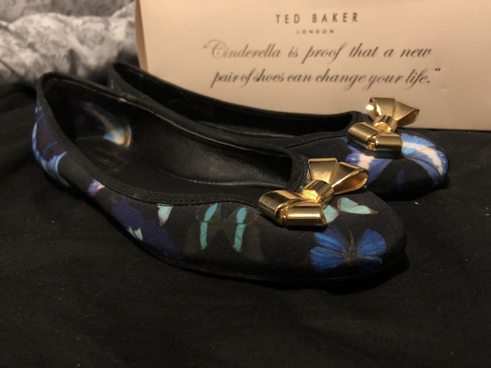 Femmes Taille 3 Ted Baker Bleu et Noir Papillon Dolly Chaussures