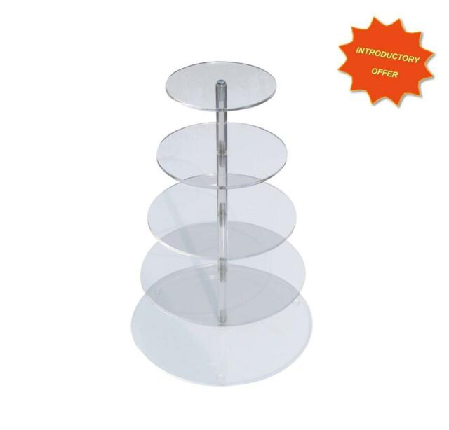 5 TIER HIGH GLOSS CLEAR ACRYLIC CUP CAKE MUFFIN WEDDING DISPLAY STAND