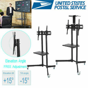 Ysoo-Mobile-TV-Cart-for-32-034-to-65-034-LCD-LED-Plasma-Flat-Panel-Stand-w-Wheels