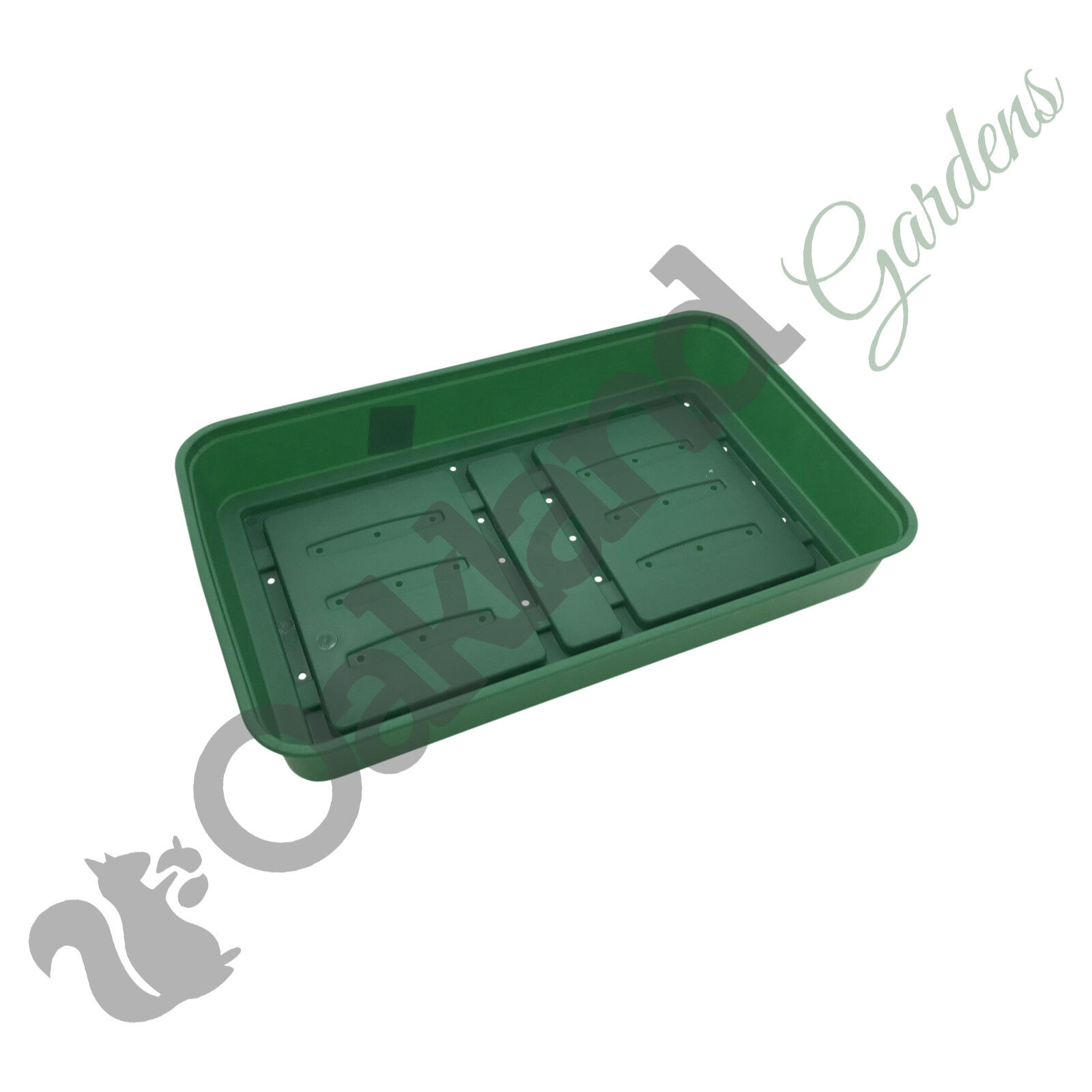 1 x Full Size 38cm Seed Tray Green With Holes Rigid Strong Propagator Tray