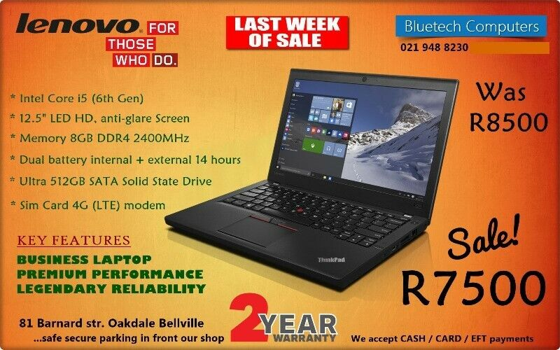 Lenovo ThinkPad X260 - Core I5 - 512 SSD - 8GB RAM - 24 Months Guarantee |  Bellville | Gumtree Classifieds South Africa | 240910007