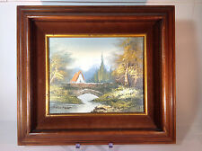 Vintage Oil Painting of Barn and Bridge in Forest in Wood Frame by Hamilton