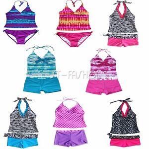 Mädchen Badeanzug Zweiteiler Kinder Tankini Bikini Set Bademode Schwimmanzug