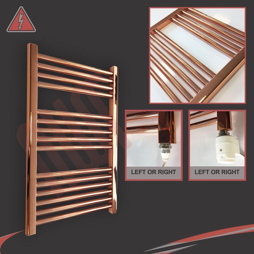 600 mm (W) x 800 mm (H) droite cuivre électrique sèche-serviettes Radiateur - 300 W