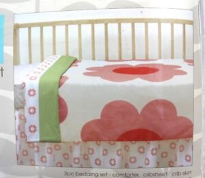 Orla-Kiely-for-Target-3-Piece-Cotton-Crib-Bedding-Set-Heart-Daisy-Flowers
