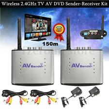 2.4GHz AV Wireless Transmitter Receiver Sender Audio Video w/IR Remote TV 492ft