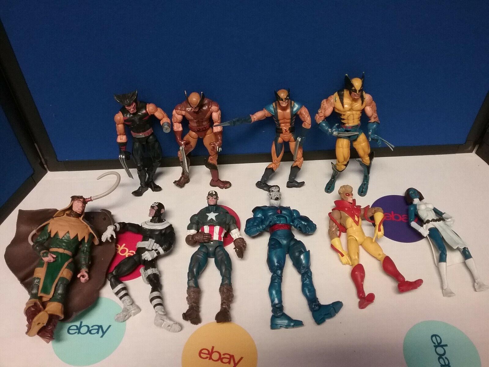 Marvel Legends Lote de 10 Wolverine Loki mystque América Sinister Juguetebiz Suelto