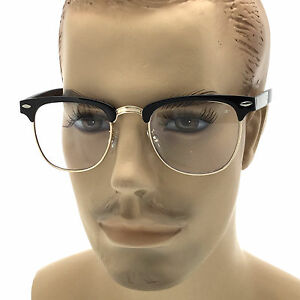 e2f78109a667 Image is loading MENS-LARGE-Fashion-Style-Glasses-Clear-Lens-Browline-