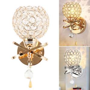 Details zu LED Kristall Wandleuchte Schlafzimmer Lampen Innen Außenlampe  Silber/Gold Lampe