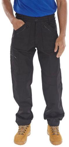 Navy Azione Pantaloni Cargo Da Combattimento Work Wear 7 ZIP PANTALONE Unisex Nero Workwear