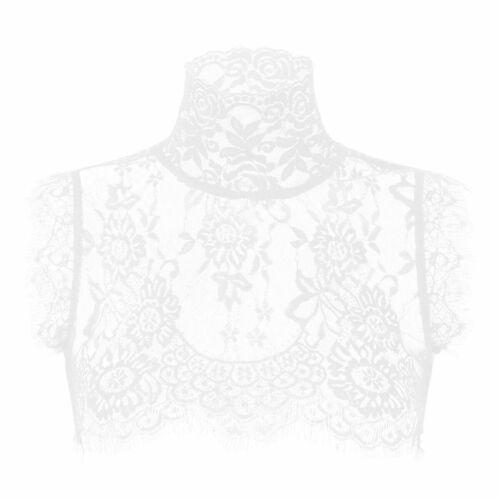 Women See Through Lace Blouse Casual Crop Top T-shirt Beach Cover Up Tees Shirt