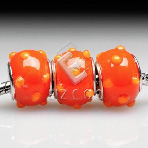 5pcs Sliver Murano Glass Bead Lampwork Fit European Charm Bracelet Lots 14x10mm