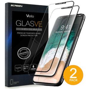 2-Pack-Negro-Apple-iPhone-X-Protector-de-Pantalla-de-Vidrio-Templado-Premium-Protector-2019