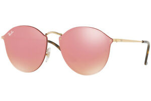b312ba300c930 NEW Authentic RAY-BAN BLAZE ROUND Gold Pink Mirror Sunglasses RB ...