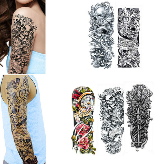 dcc486fe1 Frequently bought together. 5 Sheets Full Arm Leg Temporary Waterproof Tattoos  Art Stickers sleeve Removable