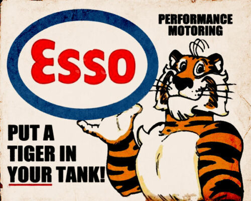 Esso Oil Tiger Garage VINTAGE ADVERTISING ENAMEL METAL TIN SIGN WALL PLAQUE