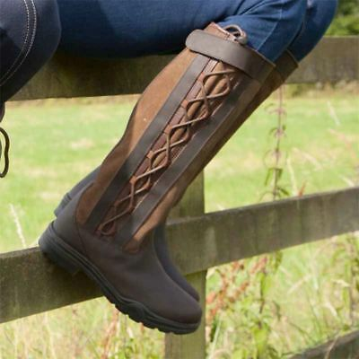 Ladies Mens Horse Riding Country Boots Outdoor Walking Waterproof Leather Laced Il Massimo Della Convenienza