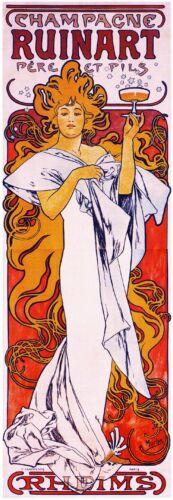 1896 Champagne Ruinart Vintage French Nouveau France Poster Print Advertisement