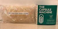 Capsule Filling Machine Size 00 + 1000 Empty Gelatin Capsules