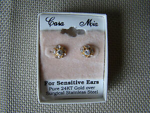 Image Is Loading Cara Mia Sensitive Ears Earrings 24k Gold Over