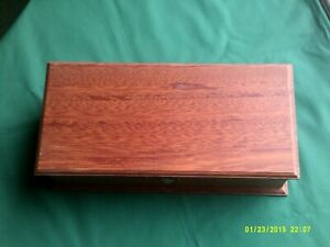 "Objective Fairly Modern Hardwood Tea Case Ahmad Tea 15 1/4""x 7 1/2"" X 4 1/8"" Antiques"