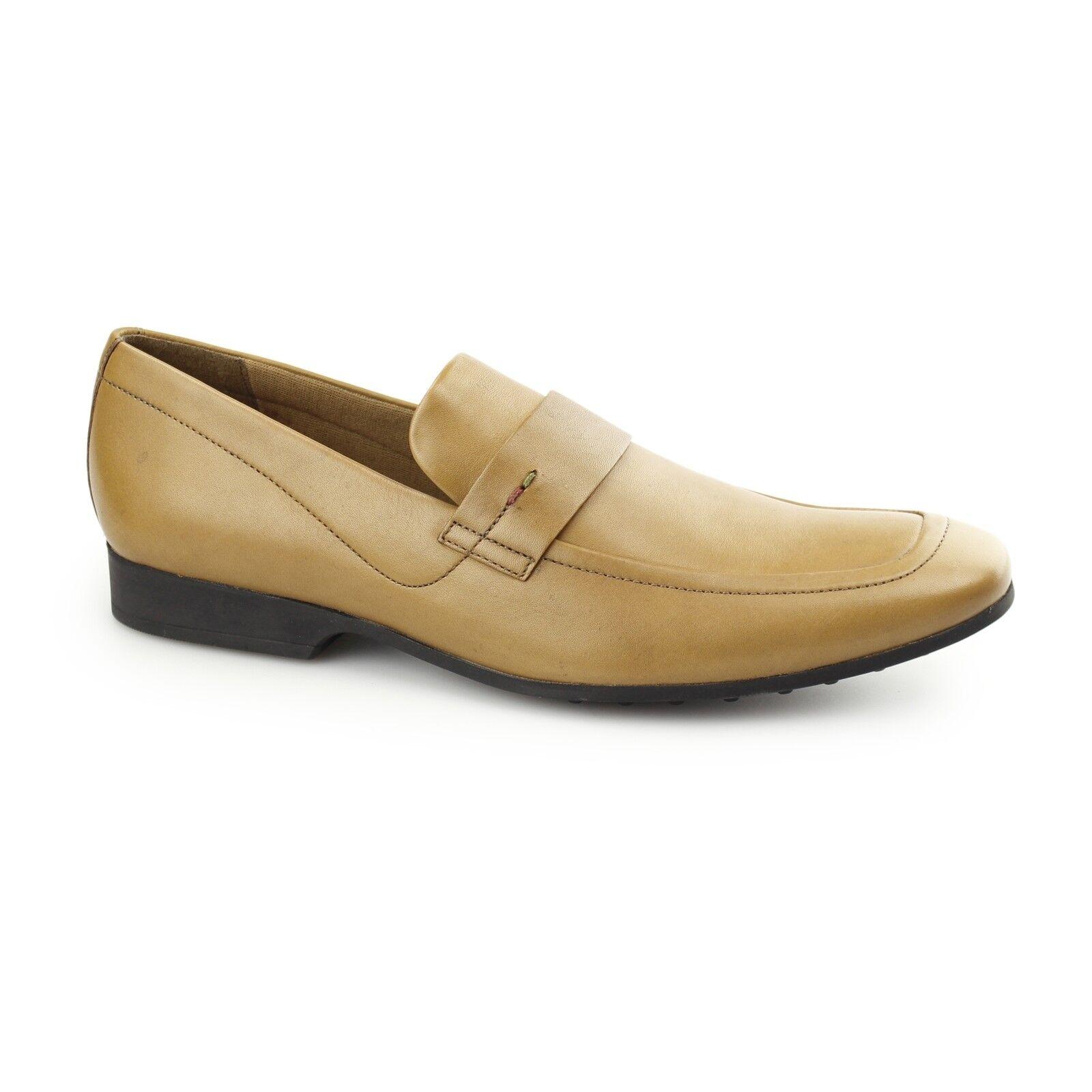 Kickers RANLYN slip pour homme en cuir souple smart bureau à enfiler mocassins chaussures tan