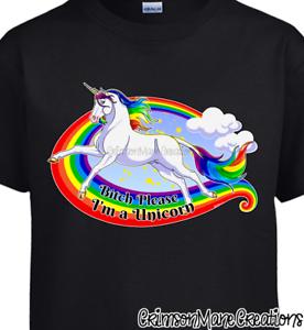 Unicorn-Rainbow-Bitch-Please-I-039-m-a-Unicorn-Cotton-T-Shirt-Ladies-Mens-Sizes