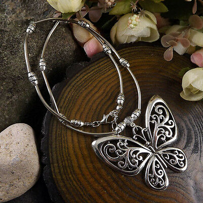 Bohemian butterfly Pendant Long Tibetan Silver vintage Necklace Women girl 16""