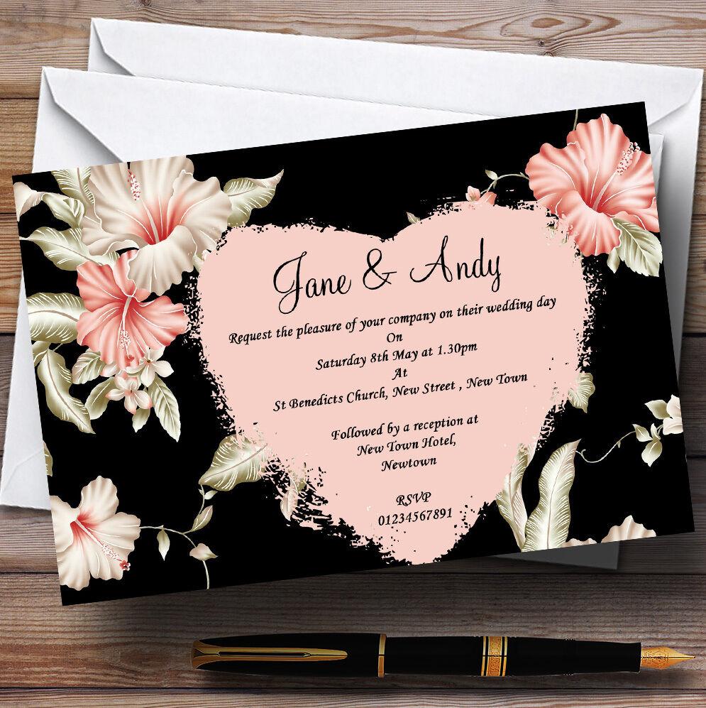 Vintage Black, Coral & Pink Stunning  Personalised Personalised  Wedding Invitations 20a4b2