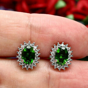 NATURAL-5-X-7-mm-OVAL-GREEN-CHROME-DIOPSIDE-amp-CZ-EARRINGS-925-STERLING-SILVER