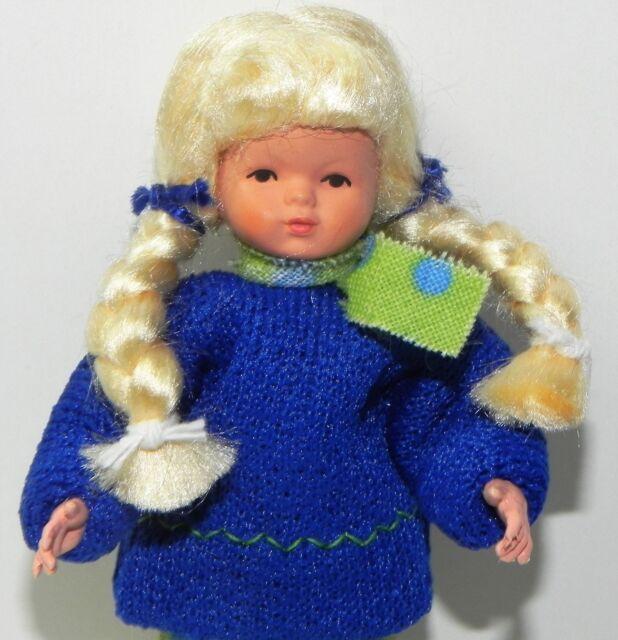 Dollhouse Miniature Girl Doll Blonde Braids Blue Top Caco Dollhouse Shoppe