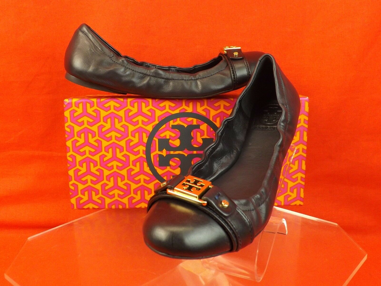 NIB TORY BURCH NAVY LEATHER AMBROSE GOLD REVA CAP TOE BALLET FLATS 7.5