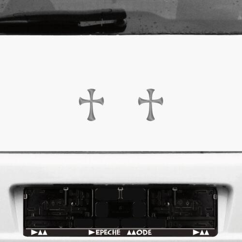 2 Stück 8cm silber Gothic Gothik Templer Tempel Ritter Kreuz Aufkleber Tattoo