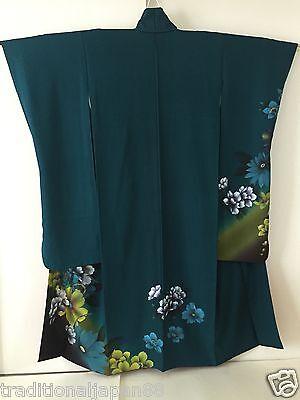 Vintage Japanese Silk Kimono Dress FURISODE, Peony, Flower, Green K525