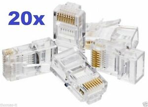 20x RJ45 Network CAT5e Ethernet LAN Internet Cable End Crimp Plug ...
