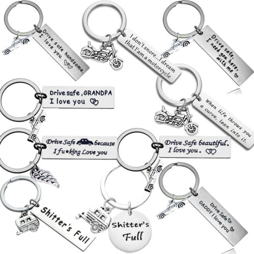 Drive Safe Keychain Couples Boyfriend Keyring Dad Mom Fathers Gifts Wing Car