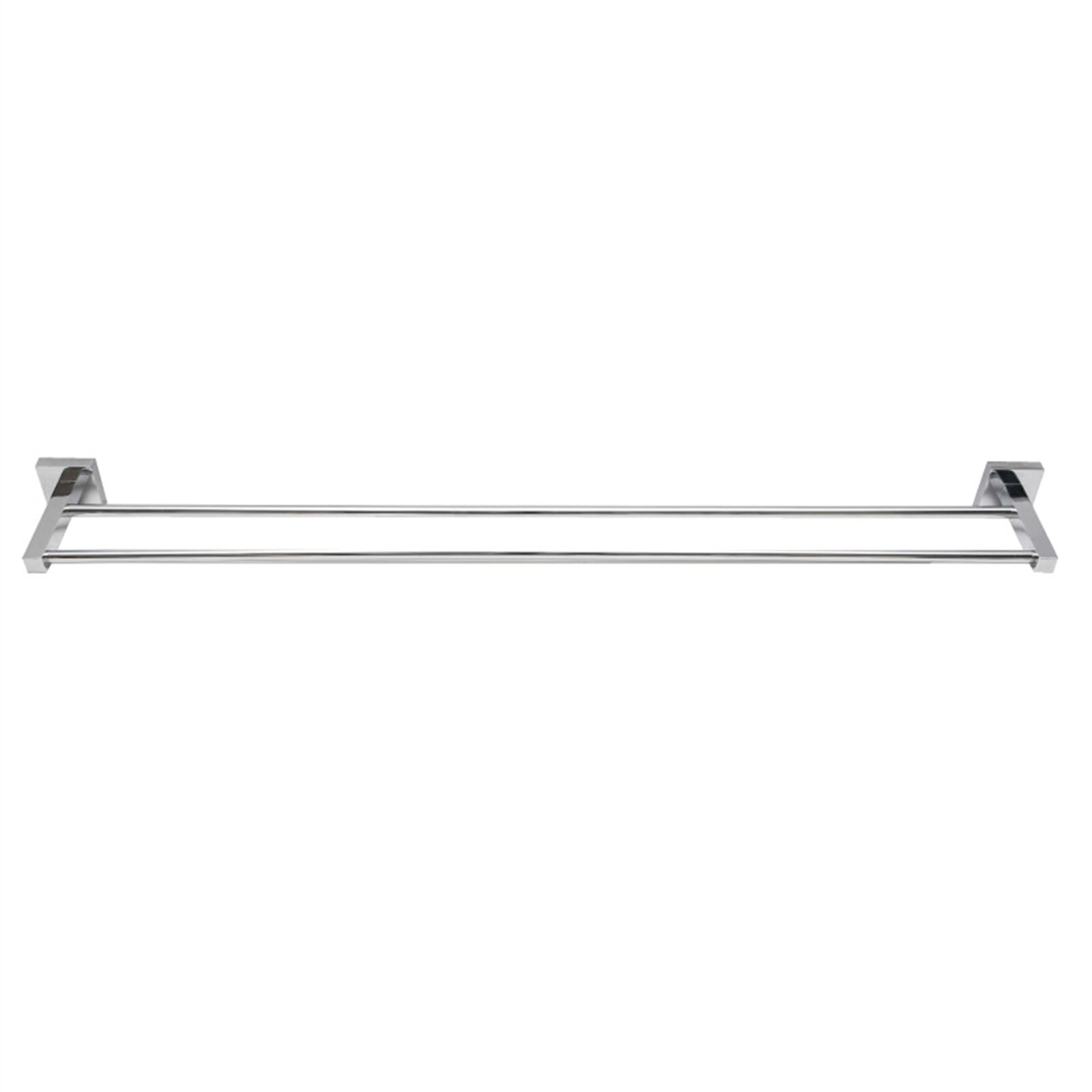 Enzo Barelli LILLE DOUBLE TOWEL RAIL Can Be Cut To Size, CHROME - 600mm Or 760mm