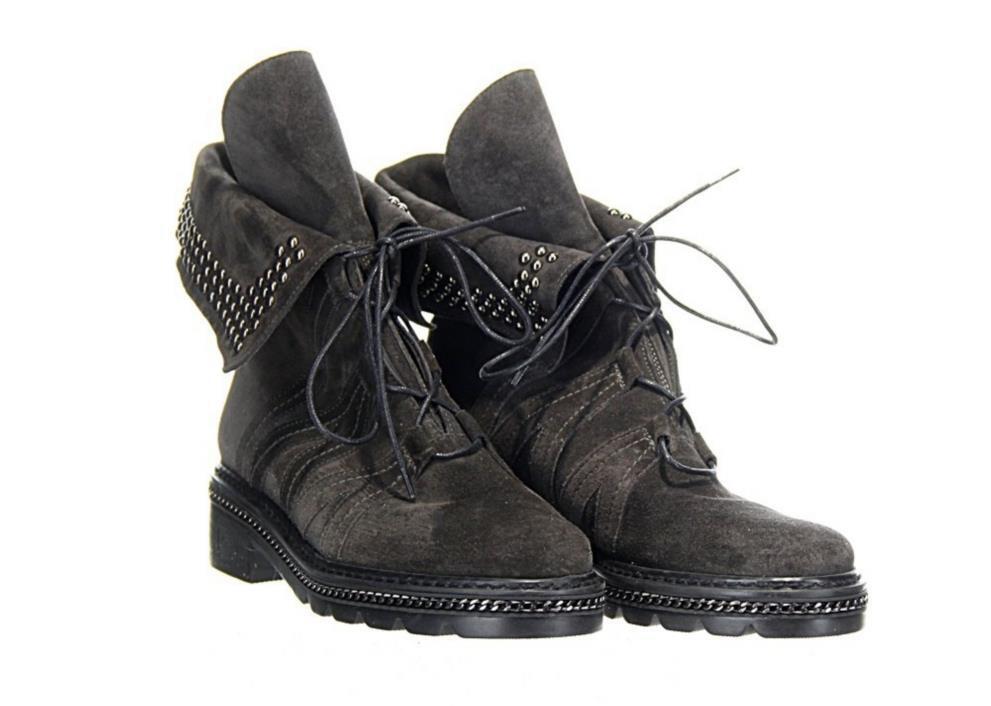 Stuart Weitzman Black Suede Yadastud Studded Combat Boots Booties Sz. 5