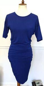 Athleta-Women-Solstice-Tee-Dress-Ruched-Short-Sleeve-Blue-Athleisure-Stretch-XS