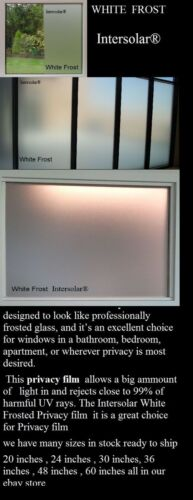 White Frost Privacy window film Made in usa   36 inch x 5 ft intersolar films