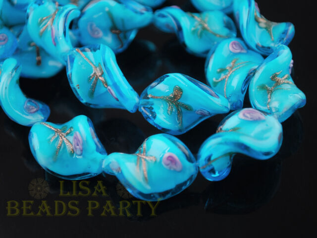 10pcs 20X17mm Sky Blue Lampwork Glass Jewelry Finding Twist Loose Spacer Beads